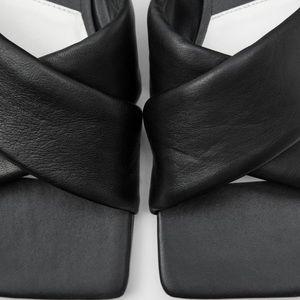 Zara black flat padded leather sandals